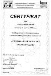 certyfikat audytora efektywności energetycznej Aleksander Sudoł