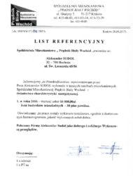List referencyjny wykonania 31 świadectw charakterystyki energetycznej budynków wielorodzinnych i pawilonu biurowego należących do zasobów mieszkaniowych Spółdzielni Mieszkaniowej Prądnik Biały Wschód w Krakowie