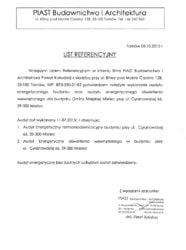 """List referencyjny wykonania audytu energetycznego wraz z audytem efektywności energetycznej oświetlenia dla budynku """"Dom Strażaka"""" przy ul. Cyranowskiej w Mielcu"""